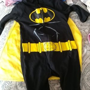 Batman one piece outfit with attached cape.